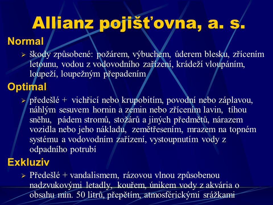 Allianz pojišťovna, a. s. Normal  škody způsobené: požárem, výbuchem, úderem blesku, zřícením letounu, vodou z vodovodního zařízení, krádeží vloupání