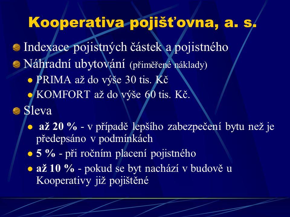 Kooperativa pojišťovna, a. s. Indexace pojistných částek a pojistného Náhradní ubytování (přiměřené náklady) PRIMA až do výše 30 tis. Kč KOMFORT až do