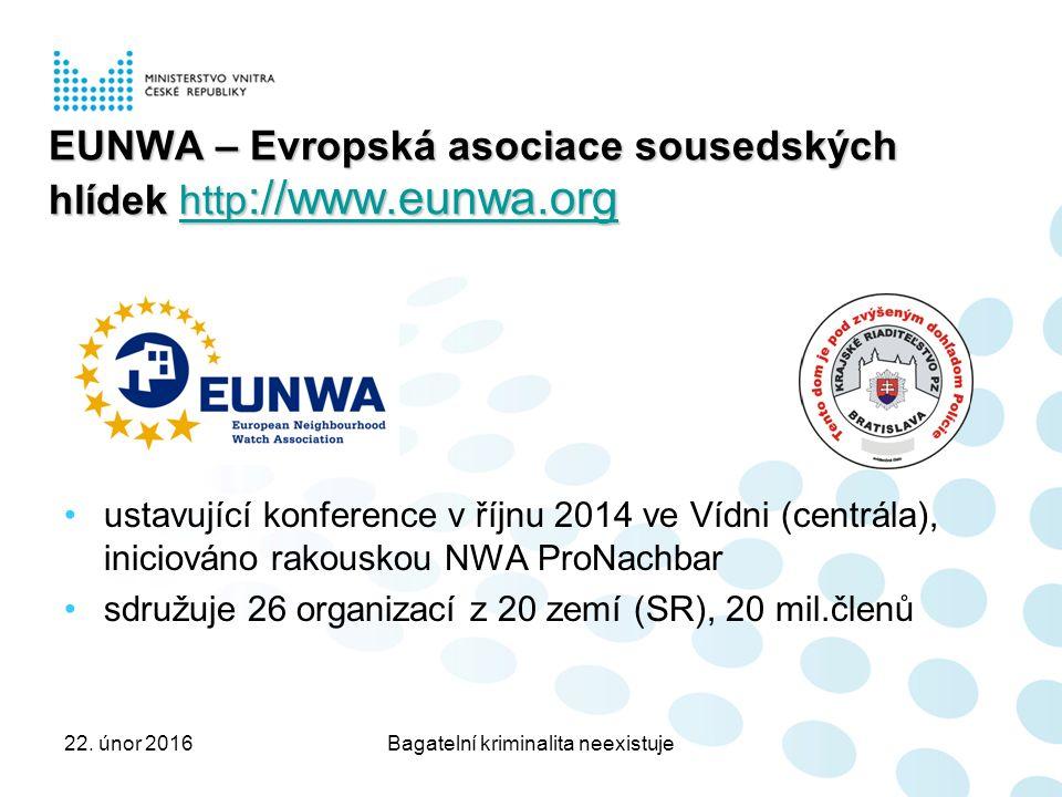 EUNWA – Evropská asociace sousedských hlídek http ://www.eunwa.org http ://www.eunwa.orghttp ://www.eunwa.org ustavující konference v říjnu 2014 ve Vídni (centrála), iniciováno rakouskou NWA ProNachbar sdružuje 26 organizací z 20 zemí (SR), 20 mil.členů 22.