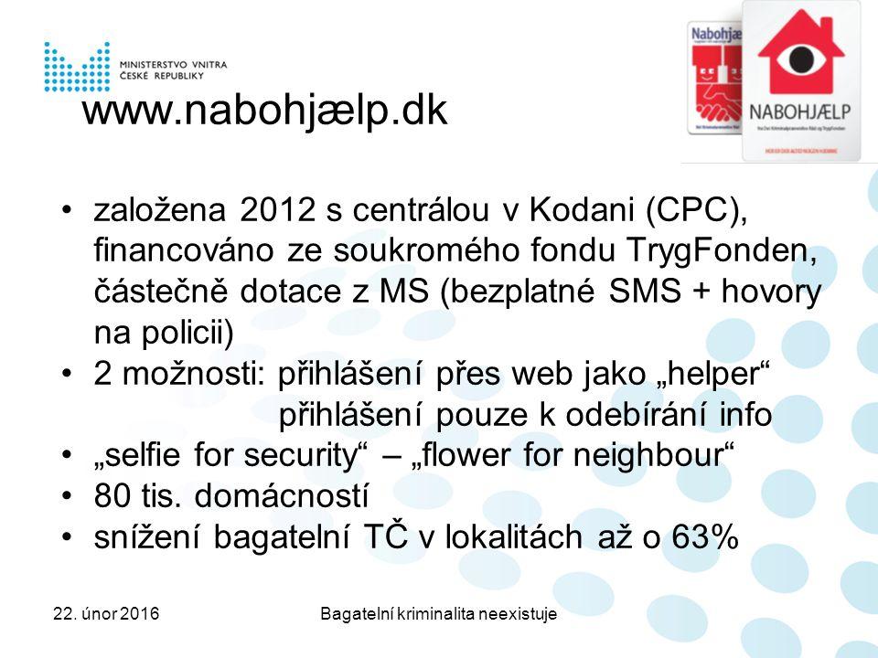 """www.nabohjælp.dk založena 2012 s centrálou v Kodani (CPC), financováno ze soukromého fondu TrygFonden, částečně dotace z MS (bezplatné SMS + hovory na policii) 2 možnosti: přihlášení přes web jako """"helper přihlášení pouze k odebírání info """"selfie for security – """"flower for neighbour 80 tis."""