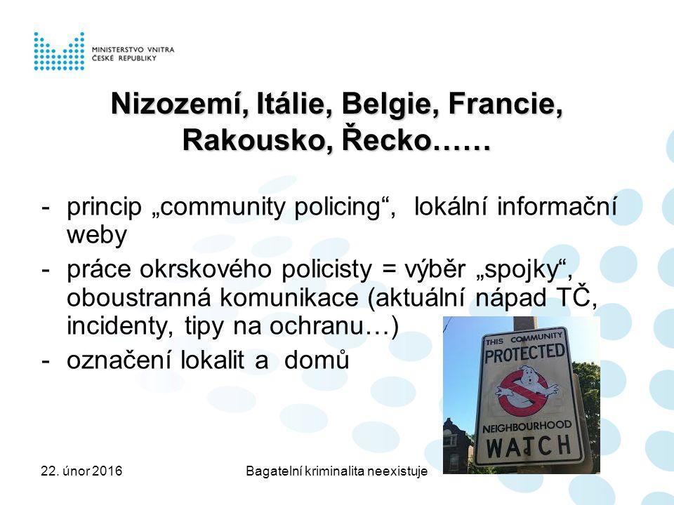 """Nizozemí, Itálie, Belgie, Francie, Rakousko, Řecko…… -princip """"community policing , lokální informační weby -práce okrskového policisty = výběr """"spojky , oboustranná komunikace (aktuální nápad TČ, incidenty, tipy na ochranu…) -označení lokalit a domů 22."""