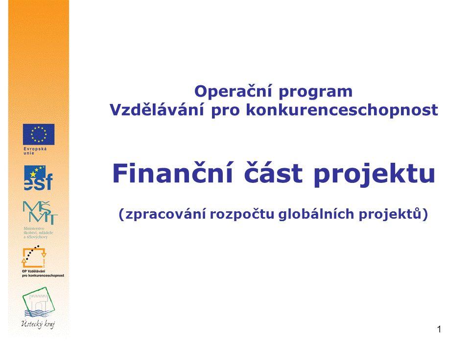 1 Operační program Vzdělávání pro konkurenceschopnost Finanční část projektu (zpracování rozpočtu globálních projektů)