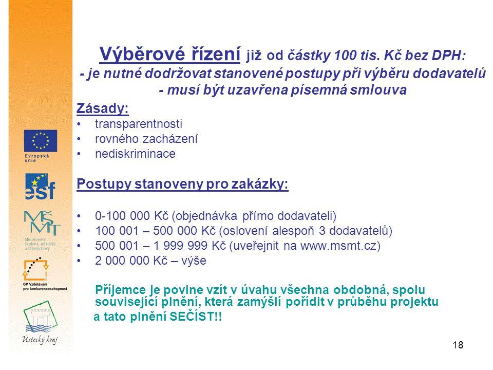 18 Zásady: transparentnosti rovného zacházení nediskriminace Postupy stanoveny pro zakázky: 0-100 000 Kč (objednávka přímo dodavateli) 100 001 – 500 000 Kč (oslovení alespoň 3 dodavatelů) 500 001 – 1 999 999 Kč (uveřejnit na www.msmt.cz) 2 000 000 Kč – výše Příjemce je povine vzít v úvahu všechna obdobná, spolu související plnění, která zamýšlí pořídit v průběhu projektu a tato plnění SEČÍST!.
