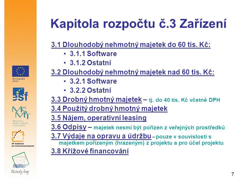 7 Kapitola rozpočtu č.3 Zařízení 3.1 Dlouhodobý nehmotný majetek do 60 tis.