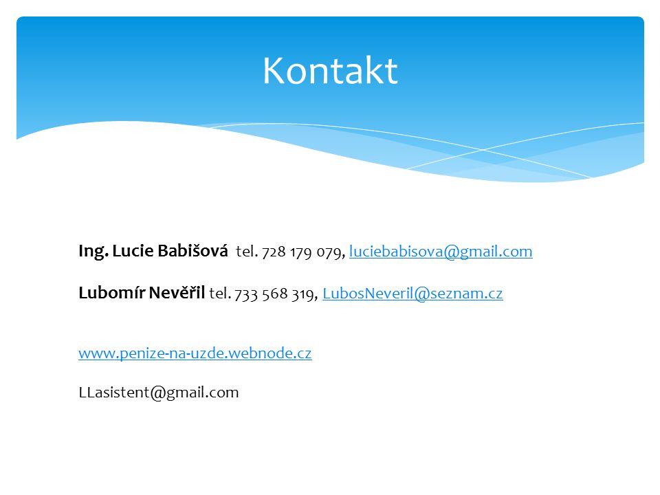 Kontakt Ing. Lucie Babišová tel. 728 179 079, luciebabisova@gmail.comluciebabisova@gmail.com Lubomír Nevěřil tel. 733 568 319, LubosNeveril@seznam.czL