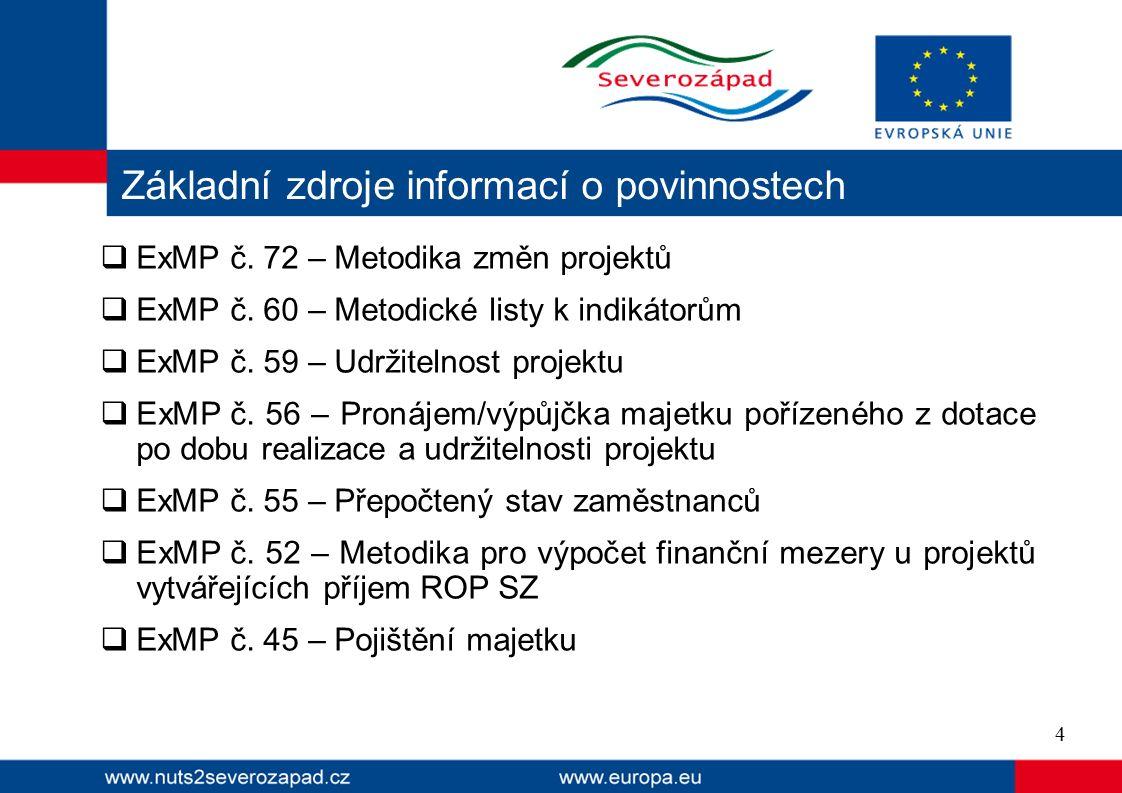  ExMP č. 72 – Metodika změn projektů  ExMP č. 60 – Metodické listy k indikátorům  ExMP č.