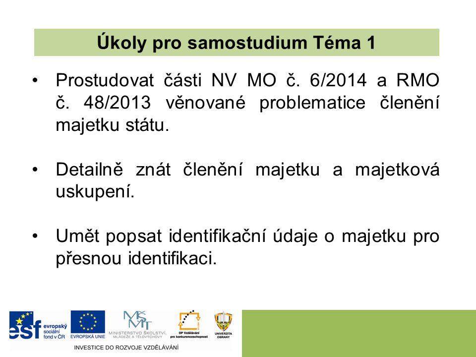 Prostudovat části NV MO č. 6/2014 a RMO č. 48/2013 věnované problematice členění majetku státu. Detailně znát členění majetku a majetková uskupení. Um