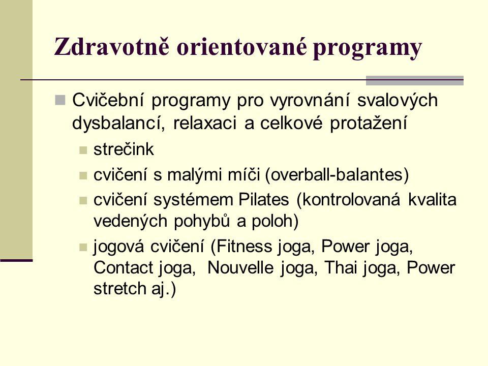 Zdravotně orientované programy Cvičební programy pro vyrovnání svalových dysbalancí, relaxaci a celkové protažení strečink cvičení s malými míči (overball-balantes) cvičení systémem Pilates (kontrolovaná kvalita vedených pohybů a poloh) jogová cvičení (Fitness joga, Power joga, Contact joga, Nouvelle joga, Thai joga, Power stretch aj.)