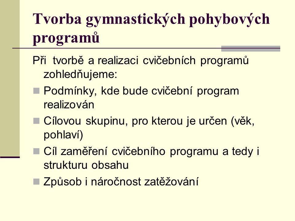 Tvorba gymnastických pohybových programů Při tvorbě a realizaci cvičebních programů zohledňujeme: Podmínky, kde bude cvičební program realizován Cílovou skupinu, pro kterou je určen (věk, pohlaví) Cíl zaměření cvičebního programu a tedy i strukturu obsahu Způsob i náročnost zatěžování