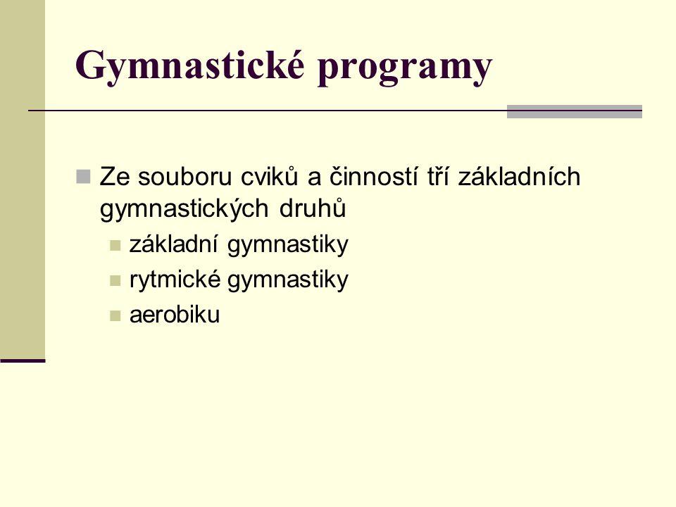 Gymnastické programy Ze souboru cviků a činností tří základních gymnastických druhů základní gymnastiky rytmické gymnastiky aerobiku