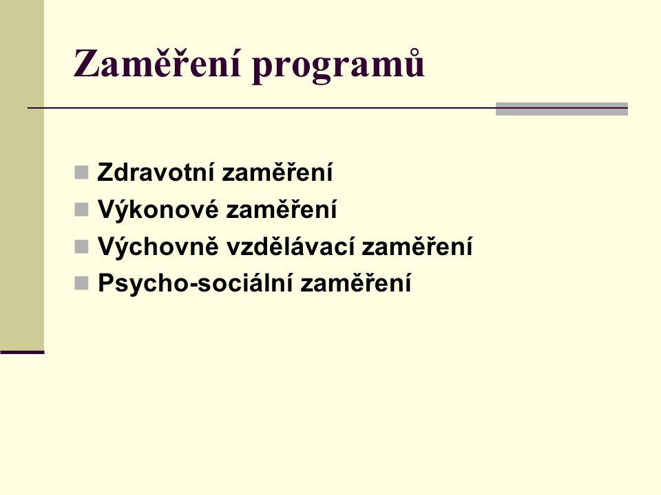 Zaměření programů Zdravotní zaměření Výkonové zaměření Výchovně vzdělávací zaměření Psycho-sociální zaměření