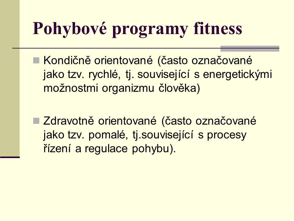 Kondičně orientované programy Cvičení aerobního charakteru Úkolem je zlepšovat aerobní a svalovou vytrvalost a pozitivně působit na funkci a strukturu pohybového ústrojí i psychiku cvičenců Různé druhy aerobiku