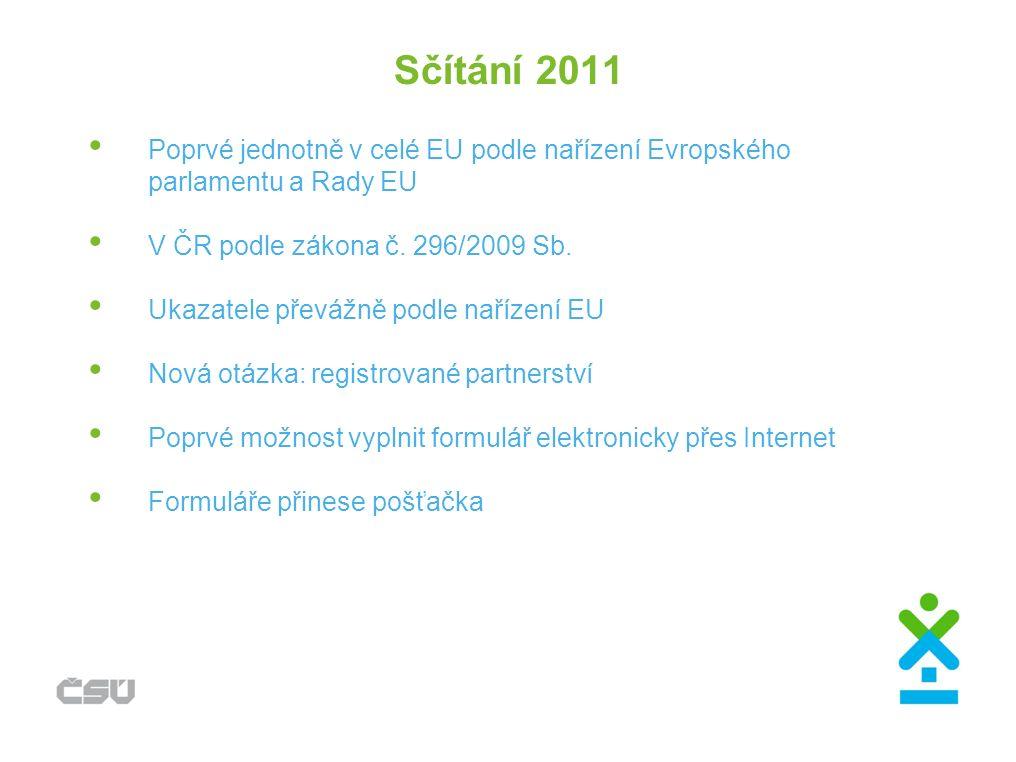 Sčítání 2011 Poprvé jednotně v celé EU podle nařízení Evropského parlamentu a Rady EU V ČR podle zákona č. 296/2009 Sb. Ukazatele převážně podle naříz