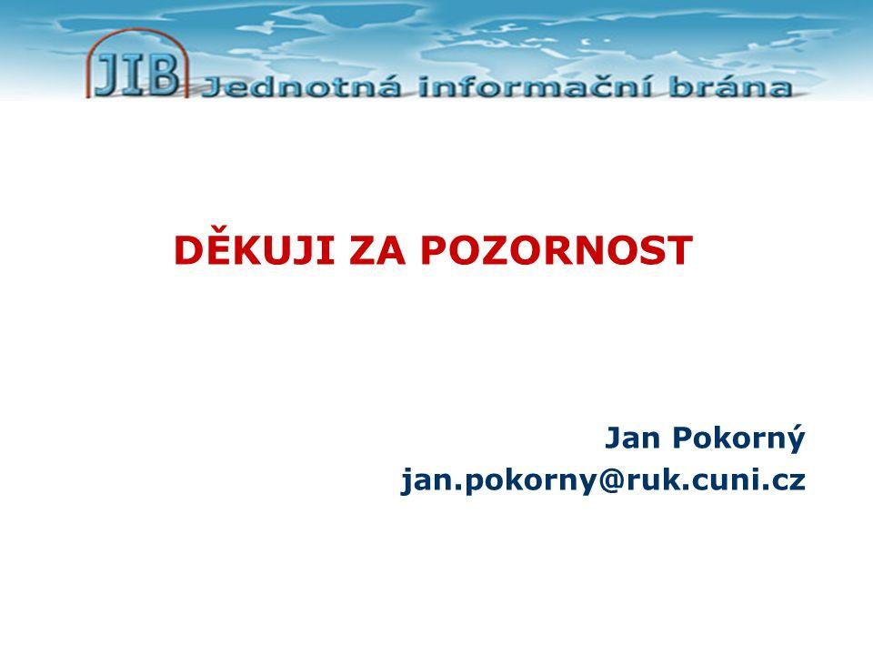 DĚKUJI ZA POZORNOST Jan Pokorný jan.pokorny@ruk.cuni.cz