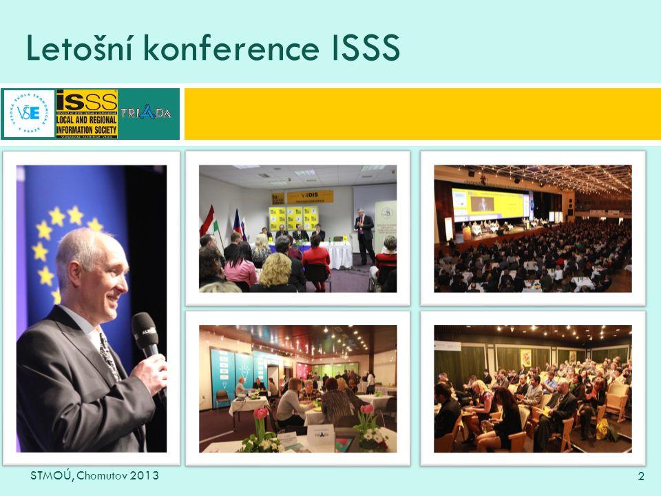 3 Konference ISSS v číslech STMOÚ, Chomutov 2013 3  Konference se účastnilo 2303 registrovaných účastníků  Z toho z institucí a úřadů – 1297 Z toho zástupců měst a obcí – 597  Odehrálo se přes 220 přednášek, prezentací a doprovodných akcí  Ve výstavní části se představilo 110 dodavatelů technologií a služeb