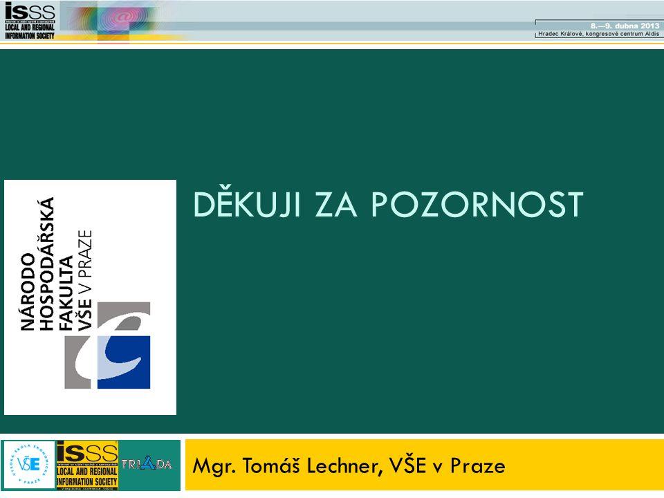 DĚKUJI ZA POZORNOST Mgr. Tomáš Lechner, VŠE v Praze