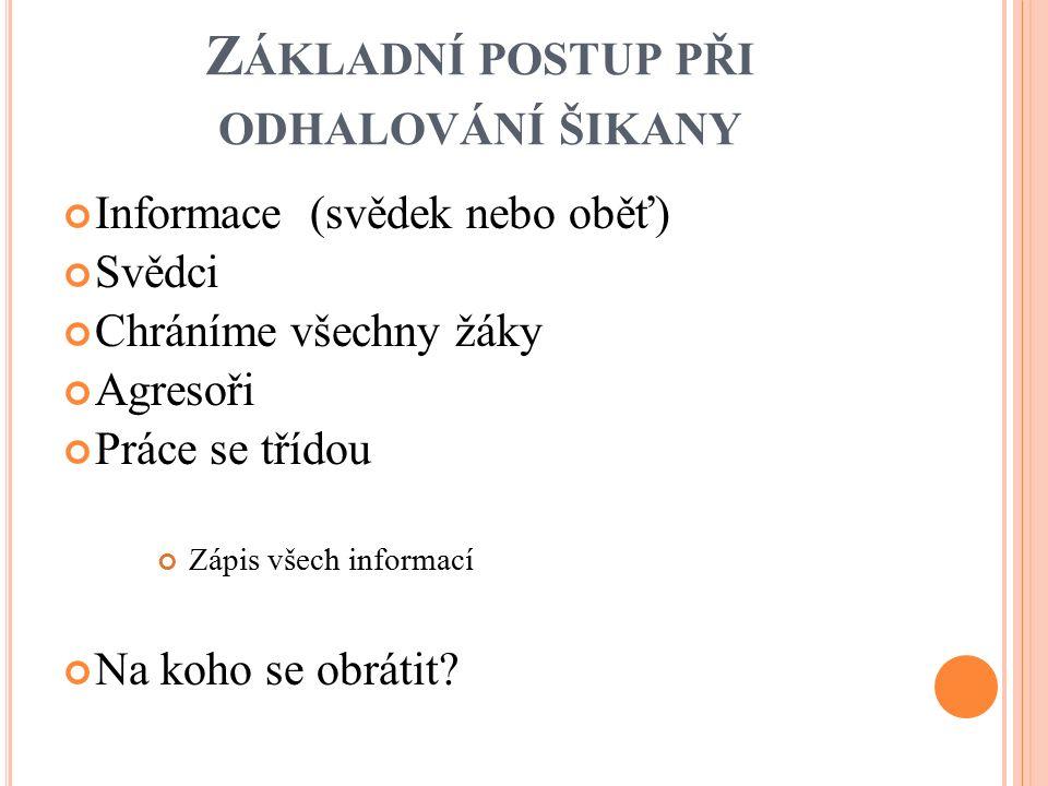 I NFORMACE Metodický pokyn MŠMT Č.j.: 22294/2013-1 Kolář, M.: Bolest šikanování.