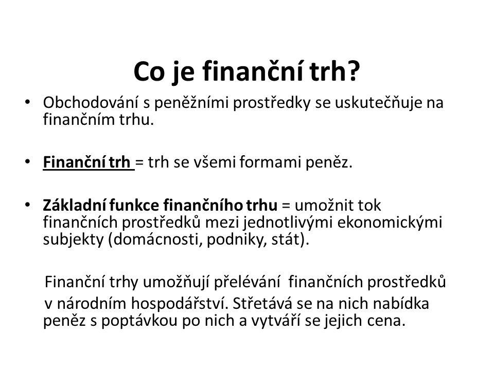 Co je finanční trh.Obchodování s peněžními prostředky se uskutečňuje na finančním trhu.