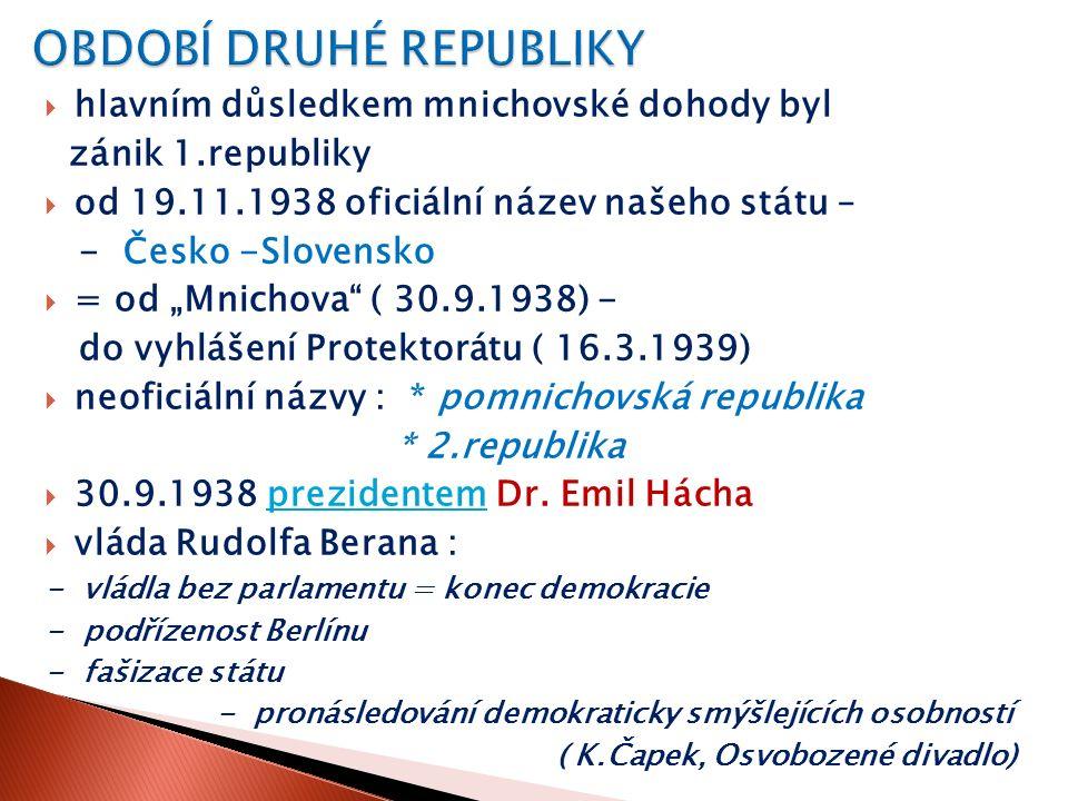  1) A.Hitler  2) E. Beneš  3) E. Hácha  4) K.