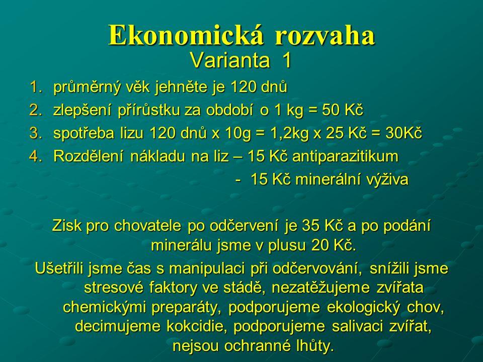 Ekonomická rozvaha Varianta 1 1.průměrný věk jehněte je 120 dnů 2.zlepšení přírůstku za období o 1 kg = 50 Kč 3.spotřeba lizu 120 dnů x 10g = 1,2kg x 25 Kč = 30Kč 4.Rozdělení nákladu na liz – 15 Kč antiparazitikum - 15 Kč minerální výživa - 15 Kč minerální výživa Zisk pro chovatele po odčervení je 35 Kč a po podání minerálu jsme v plusu 20 Kč.