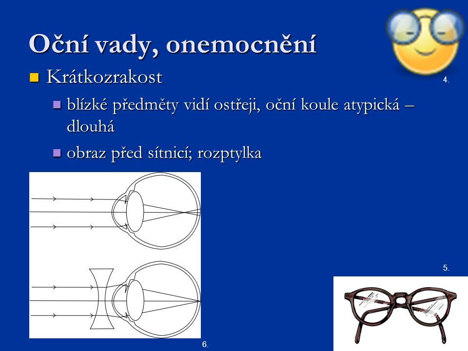 Oční vady, onemocnění Krátkozrakost Krátkozrakost blízké předměty vidí ostřeji, oční koule atypická – dlouhá blízké předměty vidí ostřeji, oční koule atypická – dlouhá obraz před sítnicí; rozptylka obraz před sítnicí; rozptylka 5.