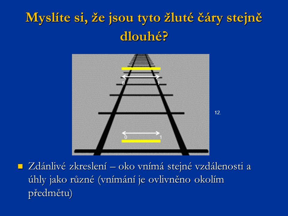 Myslíte si, že jsou tyto žluté čáry stejně dlouhé? Zdánlivé zkreslení – oko vnímá stejné vzdálenosti a úhly jako různé (vnímání je ovlivněno okolím př