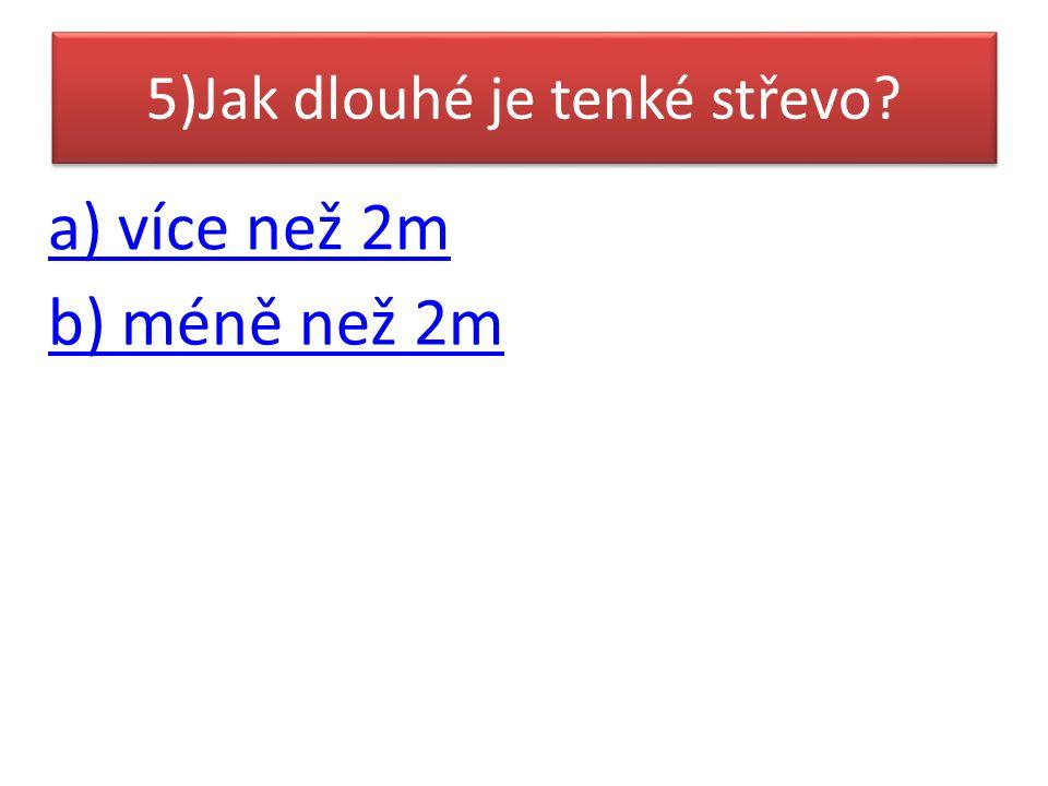 5)Jak dlouhé je tenké střevo a) více než 2m b) méně než 2m