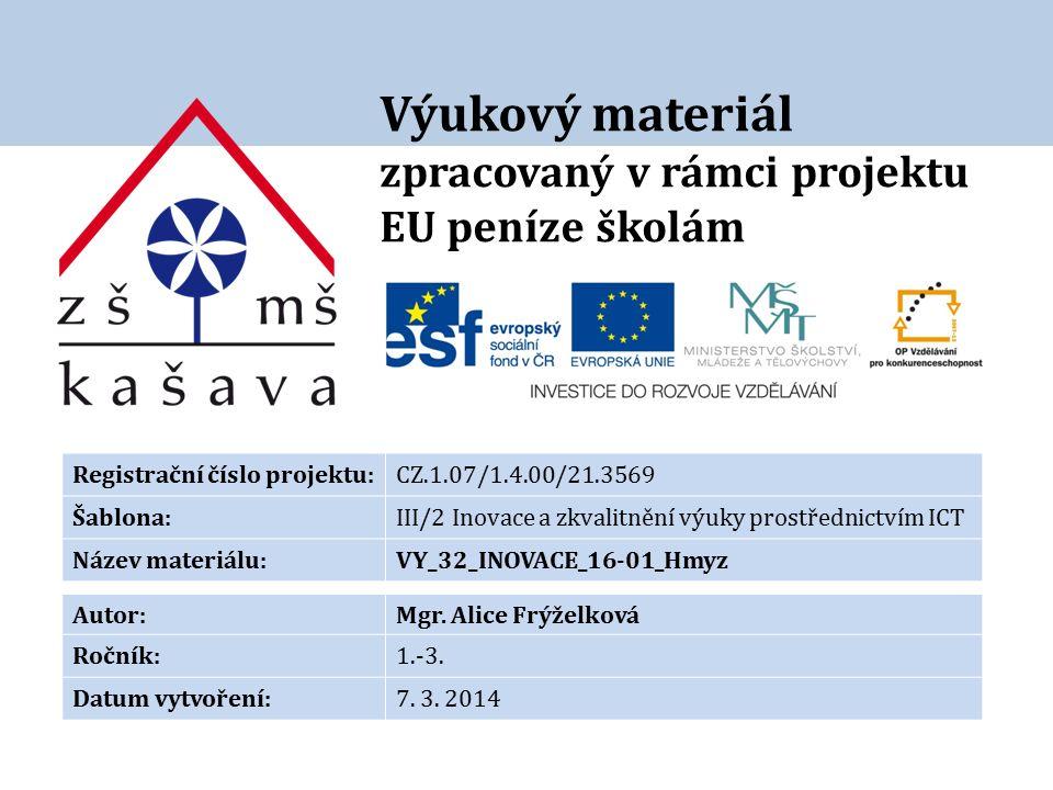 Výukový materiál zpracovaný v rámci projektu EU peníze školám Registrační číslo projektu:CZ.1.07/1.4.00/21.3569 Šablona:III/2 Inovace a zkvalitnění výuky prostřednictvím ICT Název materiálu:VY_32_INOVACE_16-01_Hmyz Autor:Mgr.