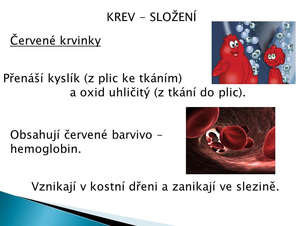 KREV - SLOŽENÍ Červené krvinky Přenáší kyslík (z plic ke tkáním) a oxid uhličitý (z tkání do plic).