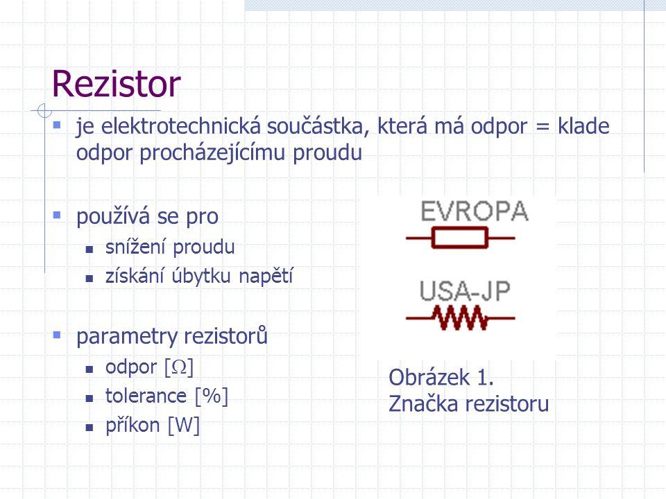 Rezistor  je elektrotechnická součástka, která má odpor = klade odpor procházejícímu proudu  používá se pro snížení proudu získání úbytku napětí  parametry rezistorů odpor [  ] tolerance [%] příkon [W] Obrázek 1.