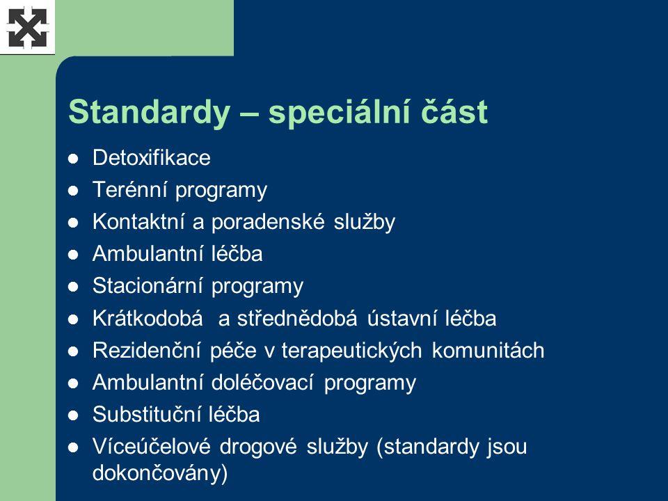 Standardy – speciální část Detoxifikace Terénní programy Kontaktní a poradenské služby Ambulantní léčba Stacionární programy Krátkodobá a střednědobá ústavní léčba Rezidenční péče v terapeutických komunitách Ambulantní doléčovací programy Substituční léčba Víceúčelové drogové služby (standardy jsou dokončovány)