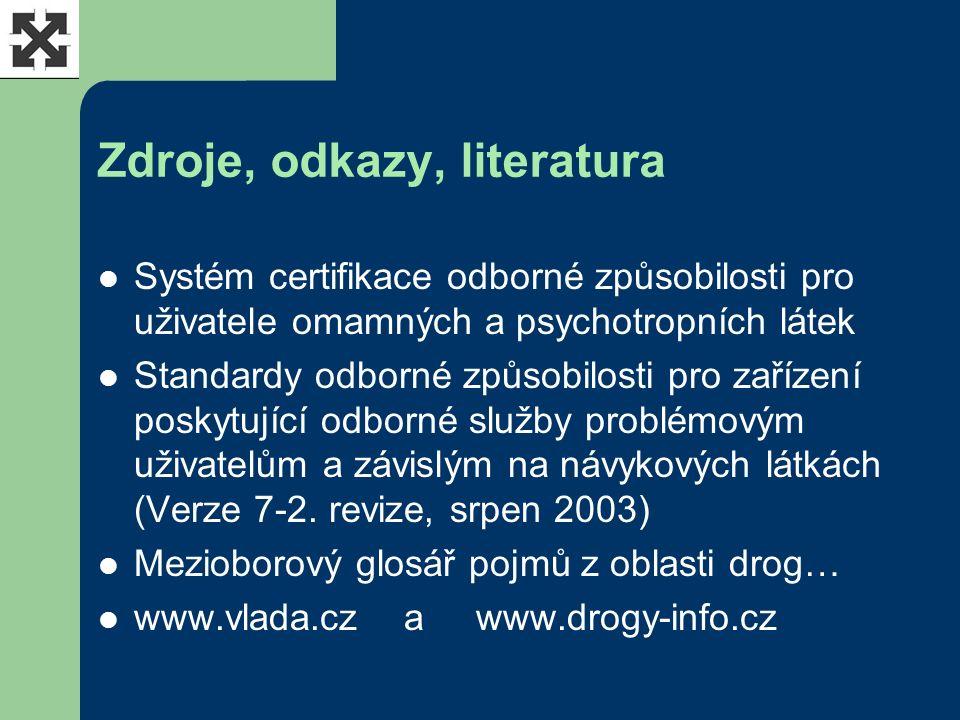 Zdroje, odkazy, literatura Systém certifikace odborné způsobilosti pro uživatele omamných a psychotropních látek Standardy odborné způsobilosti pro zařízení poskytující odborné služby problémovým uživatelům a závislým na návykových látkách (Verze 7-2.