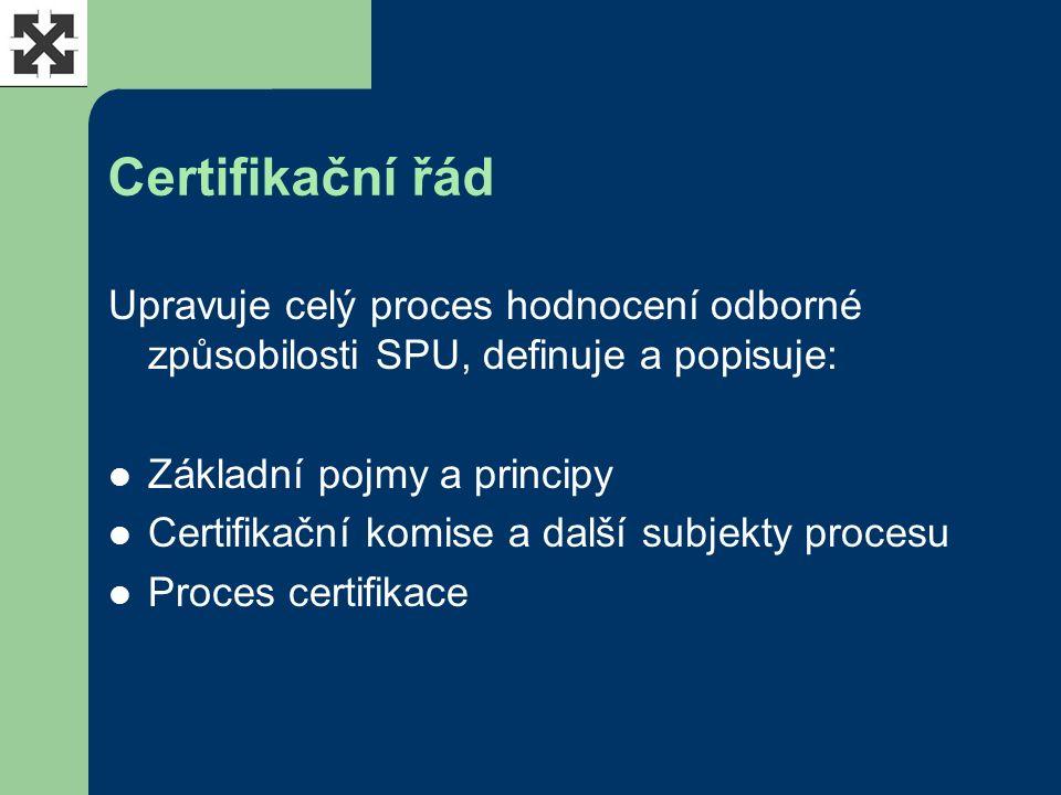 Certifikační řád Upravuje celý proces hodnocení odborné způsobilosti SPU, definuje a popisuje: Základní pojmy a principy Certifikační komise a další subjekty procesu Proces certifikace