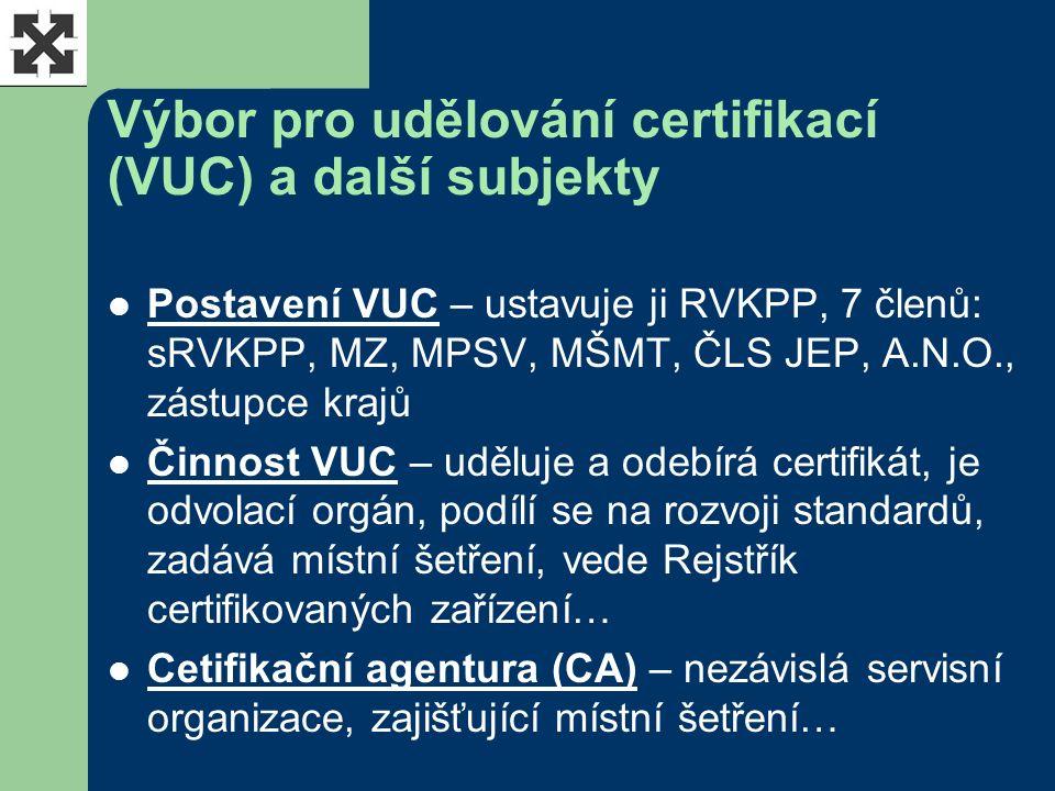 Výbor pro udělování certifikací (VUC) a další subjekty Postavení VUC – ustavuje ji RVKPP, 7 členů: sRVKPP, MZ, MPSV, MŠMT, ČLS JEP, A.N.O., zástupce krajů Činnost VUC – uděluje a odebírá certifikát, je odvolací orgán, podílí se na rozvoji standardů, zadává místní šetření, vede Rejstřík certifikovaných zařízení… Cetifikační agentura (CA) – nezávislá servisní organizace, zajišťující místní šetření…
