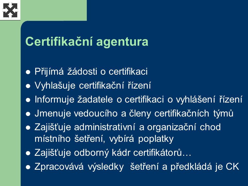 Certifikační agentura Přijímá žádosti o certifikaci Vyhlašuje certifikační řízení Informuje žadatele o certifikaci o vyhlášení řízení Jmenuje vedoucího a členy certifikačních týmů Zajišťuje administrativní a organizační chod místního šetření, vybírá poplatky Zajišťuje odborný kádr certifikátorů… Zpracovává výsledky šetření a předkládá je CK