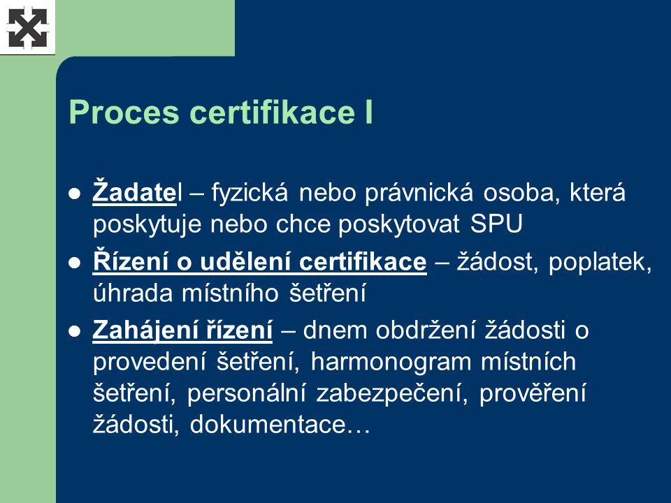 Proces certifikace I Žadatel – fyzická nebo právnická osoba, která poskytuje nebo chce poskytovat SPU Řízení o udělení certifikace – žádost, poplatek, úhrada místního šetření Zahájení řízení – dnem obdržení žádosti o provedení šetření, harmonogram místních šetření, personální zabezpečení, prověření žádosti, dokumentace…