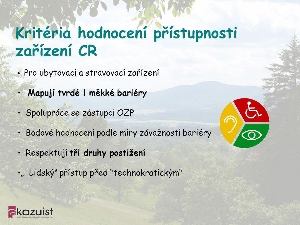 Kritéria hodnocení přístupnosti zařízení CR Pro ubytovací a stravovací zařízení Mapují tvrdé i měkké bariéry Spolupráce se zástupci OZP Bodové hodnoce