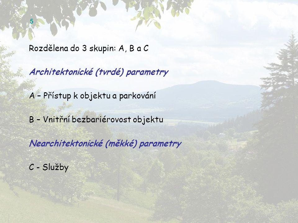 5 Rozdělena do 3 skupin: A, B a C Architektonické (tvrdé) parametry A – Přístup k objektu a parkování B – Vnitřní bezbariérovost objektu Nearchitektonické (měkké) parametry C - Služby
