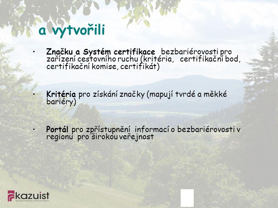a vytvořili Značku a Systém certifikace bezbariérovosti pro zařízení cestovního ruchu (kritéria, certifikační bod, certifikační komise, certifikát) Kr