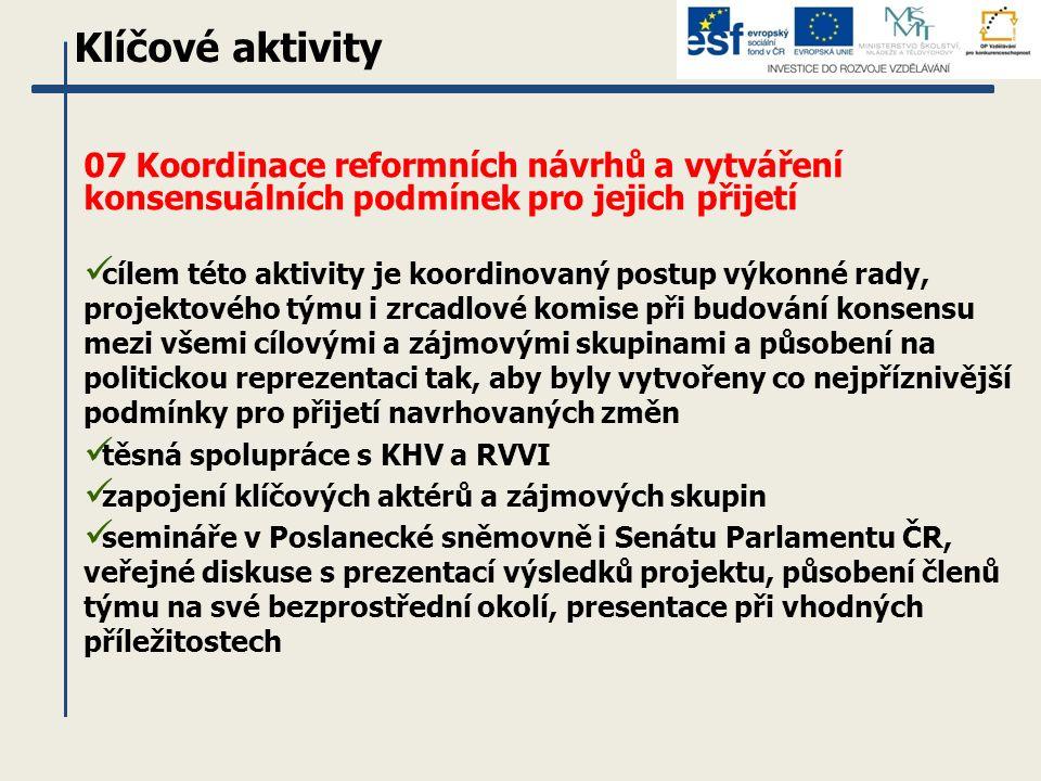 07 Koordinace reformních návrhů a vytváření konsensuálních podmínek pro jejich přijetí cílem této aktivity je koordinovaný postup výkonné rady, projektového týmu i zrcadlové komise při budování konsensu mezi všemi cílovými a zájmovými skupinami a působení na politickou reprezentaci tak, aby byly vytvořeny co nejpříznivější podmínky pro přijetí navrhovaných změn těsná spolupráce s KHV a RVVI zapojení klíčových aktérů a zájmových skupin semináře v Poslanecké sněmovně i Senátu Parlamentu ČR, veřejné diskuse s prezentací výsledků projektu, působení členů týmu na své bezprostřední okolí, presentace při vhodných příležitostech Klíčové aktivity