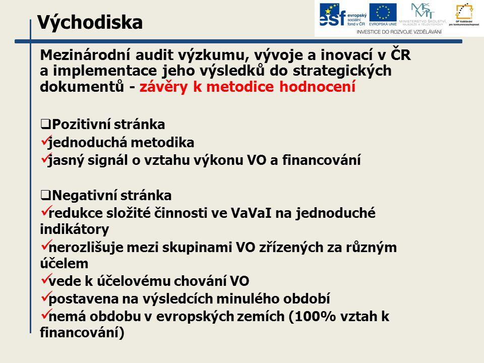 Východiska Mezinárodní audit výzkumu, vývoje a inovací v ČR a implementace jeho výsledků do strategických dokumentů - závěry k metodice hodnocení  Pozitivní stránka jednoduchá metodika jasný signál o vztahu výkonu VO a financování  Negativní stránka redukce složité činnosti ve VaVaI na jednoduché indikátory nerozlišuje mezi skupinami VO zřízených za různým účelem vede k účelovému chování VO postavena na výsledcích minulého období nemá obdobu v evropských zemích (100% vztah k financování)