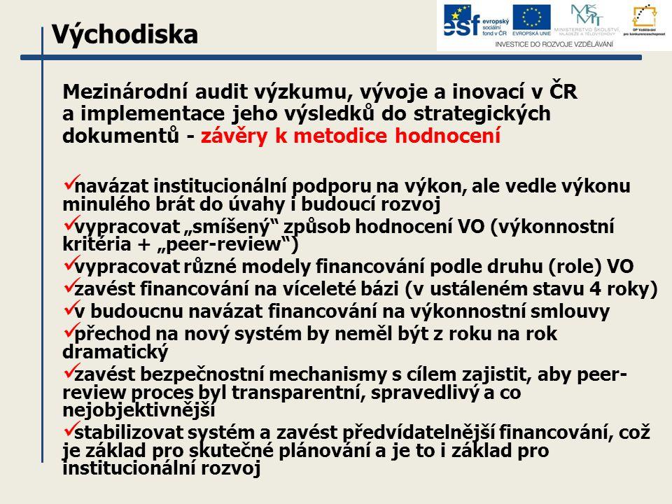 """Mezinárodní audit výzkumu, vývoje a inovací v ČR a implementace jeho výsledků do strategických dokumentů - závěry k metodice hodnocení navázat institucionální podporu na výkon, ale vedle výkonu minulého brát do úvahy i budoucí rozvoj vypracovat """"smíšený způsob hodnocení VO (výkonnostní kritéria + """"peer-review ) vypracovat různé modely financování podle druhu (role) VO zavést financování na víceleté bázi (v ustáleném stavu 4 roky) v budoucnu navázat financování na výkonnostní smlouvy přechod na nový systém by neměl být z roku na rok dramatický zavést bezpečnostní mechanismy s cílem zajistit, aby peer- review proces byl transparentní, spravedlivý a co nejobjektivnější stabilizovat systém a zavést předvídatelnější financování, což je základ pro skutečné plánování a je to i základ pro institucionální rozvoj Východiska"""