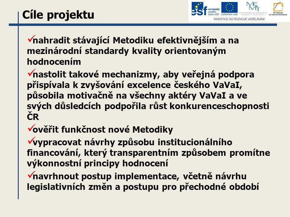 nahradit stávající Metodiku efektivnějším a na mezinárodní standardy kvality orientovaným hodnocením nastolit takové mechanizmy, aby veřejná podpora přispívala k zvyšování excelence českého VaVaI, působila motivačně na všechny aktéry VaVaI a ve svých důsledcích podpořila růst konkurenceschopnosti ČR ověřit funkčnost nové Metodiky vypracovat návrhy způsobu institucionálního financování, který transparentním způsobem promítne výkonnostní principy hodnocení navrhnout postup implementace, včetně návrhu legislativních změn a postupu pro přechodné období Cíle projektu
