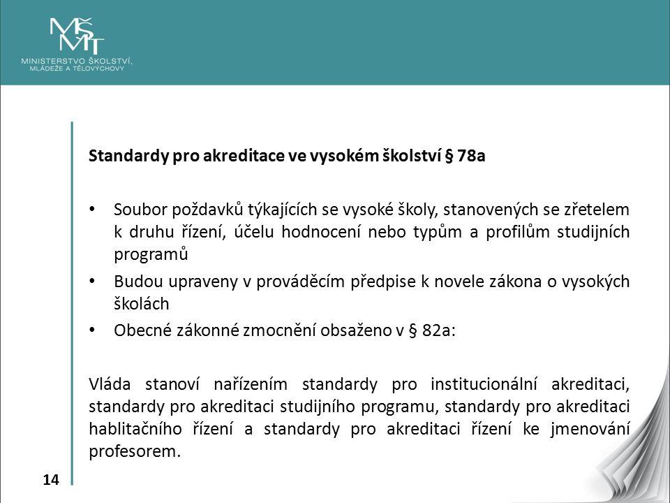 14 Standardy pro akreditace ve vysokém školství § 78a Soubor poždavků týkajících se vysoké školy, stanovených se zřetelem k druhu řízení, účelu hodnocení nebo typům a profilům studijních programů Budou upraveny v prováděcím předpise k novele zákona o vysokých školách Obecné zákonné zmocnění obsaženo v § 82a: Vláda stanoví nařízením standardy pro institucionální akreditaci, standardy pro akreditaci studijního programu, standardy pro akreditaci hablitačního řízení a standardy pro akreditaci řízení ke jmenování profesorem.