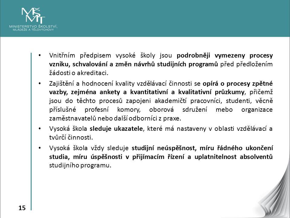 15 Vnitřním předpisem vysoké školy jsou podrobněji vymezeny procesy vzniku, schvalování a změn návrhů studijních programů před předložením žádosti o akreditaci.