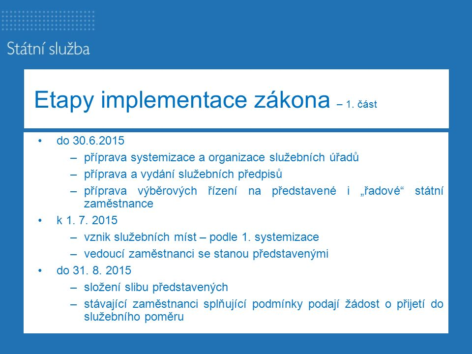 Etapy implementace zákona – 1.