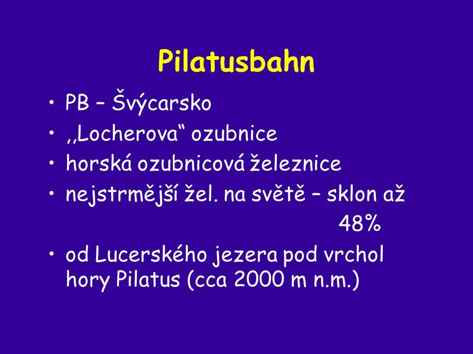 Pilatusbahn PB – Švýcarsko,,Locherova ozubnice horská ozubnicová železnice nejstrmější žel.