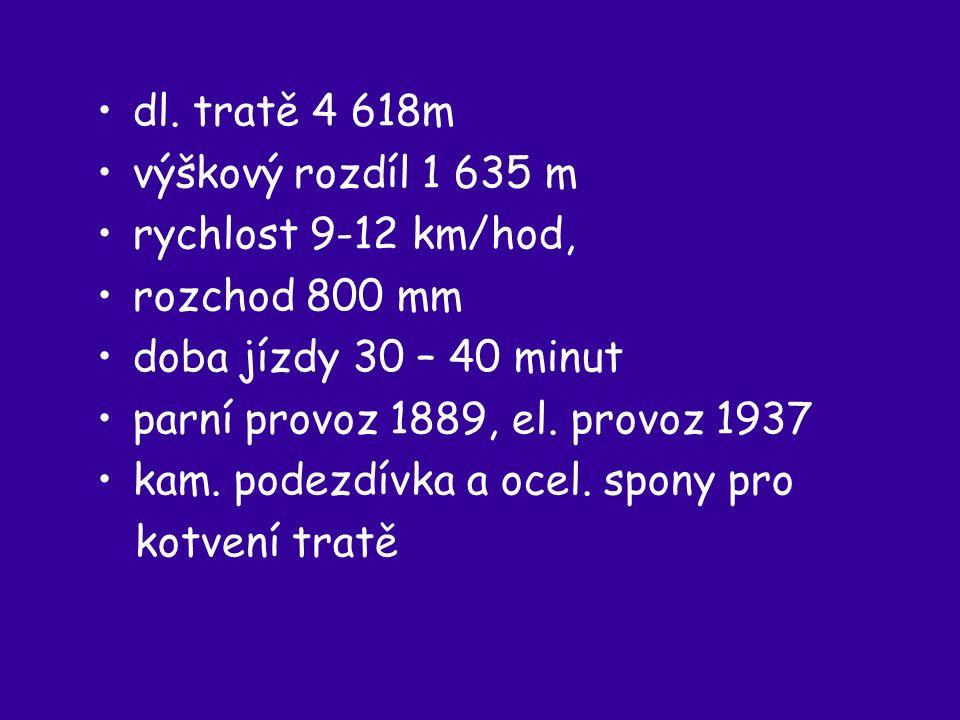 dl. tratě 4 618m výškový rozdíl 1 635 m rychlost 9-12 km/hod, rozchod 800 mm doba jízdy 30 – 40 minut parní provoz 1889, el. provoz 1937 kam. podezdív