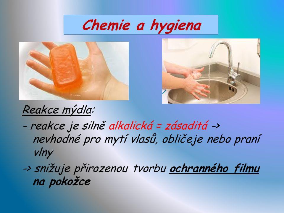 -tenzi překonají chemické látky detergenty -účinnou složkou v nich jsou tenzidy -nejobyčejnějším a nejběžnějším tenzidem je MÝDLO = sůl mastné kyseliny a hydroxidu sodného Chemie a hygiena