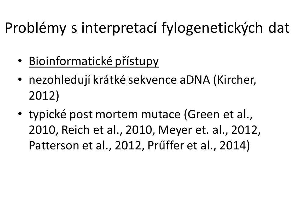 Problémy s interpretací fylogenetických dat Bioinformatické přístupy nezohledují krátké sekvence aDNA (Kircher, 2012) typické post mortem mutace (Green et al., 2010, Reich et al., 2010, Meyer et.